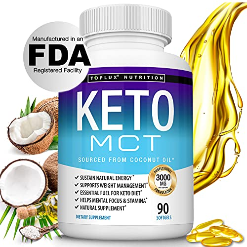Keto MCT Oil Capsules Ketosis Diet - 3000mg Natural Pure Coconut Oil Extract Pills to Support Ketogenic Diet, Source of Energy, Easy to Digest for Men Women, 90 Softgels, Toplux Supplement