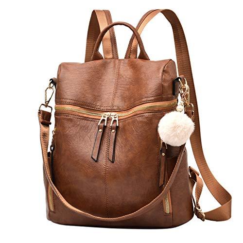 Designer-Leder-Rucksack, Geldbörse, multifunktional, Damenrucksäcke, solide Schultertaschen für Damen (Retrobraun)