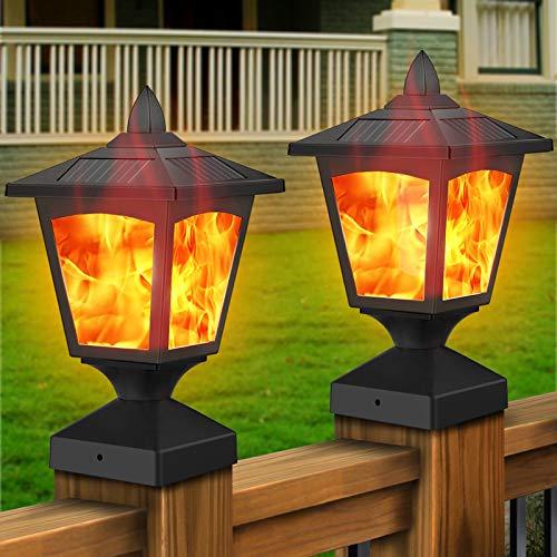Solar Post Lights,Outdoor Fence Post Cap Flame Lights,4x4 Deck Post Top LED Lights,Waterproof...