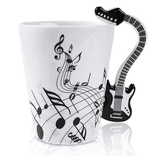 LanHong - 13.5 Ounce Guitar Mug Music Note Coffee Mug Ceramic Guitar Music Cup Mug Gifts for Guitar Players Musicians