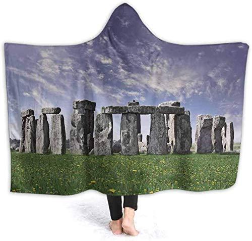 Manta con capucha de banda para hombres, mujeres, adultos, niños, Stonehenge misterioso en el Reino Unido, manta de tiro usable con forro polar Sherpa impresa en 3D130x150cm (51.2x59.1 '')