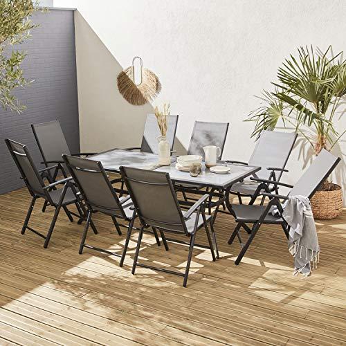 Alice's Garden Comedor de Jardin, Conjunto de Mesa y sillas de Aluminio y textileno - Antracita/Gris - 8 plazas - NAEVIA