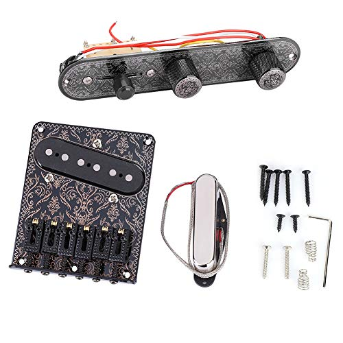 Dilwe Gitaar Pickup & Bridge Set, Gitaarbrug met Single Coil Pickup & Neck Pickup & Volume Control Panel Circuit Kit voor TL Gitaar Accessoires