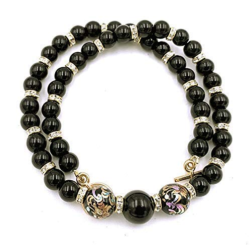 Halskette Perlenkette Glasperlen Tenshaperlen schwarz goldfarbig, Gesamtlänge: ca. 44 cm
