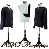 Male Dress Form Torso with Black Wood Stand and Jerseys (MH102)