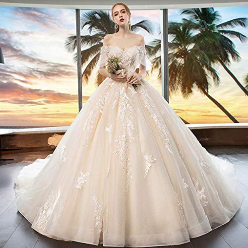 FAPROL Damen Edle Brautkleider Spitze Applique V-Ausschnitt Mit Kurzen Ärmeln Lange Brautkleider, Kirchliche Hochzeit XXXL