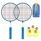 Wikay Badminton Set per Bambini, Portatile Badminton Kit per Bambini 7 in 1 Set di Racchette da Badminton per Bambini Giochi Sportivi Genitore-figlio, Borsa per Il Trasporto Inclusa (Blu)