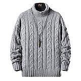 セーター メンズ 冬服 厚手 タートルネック ニットセーター 暖かい 防寒 カジュアル セーター 春秋冬 浅灰 2XL