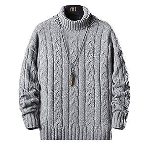 セーター メンズ 冬服 厚手 タートルネック ニットセーター 暖かい 防寒 カジュアル セーター 春秋冬 浅灰 L