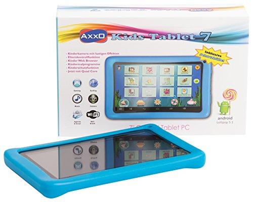 AXXO ST-214 blau - Handliches Kinder Tablet mit vollwertigem Android 5.1 Betriebssystem und farbigen Schutzbumper