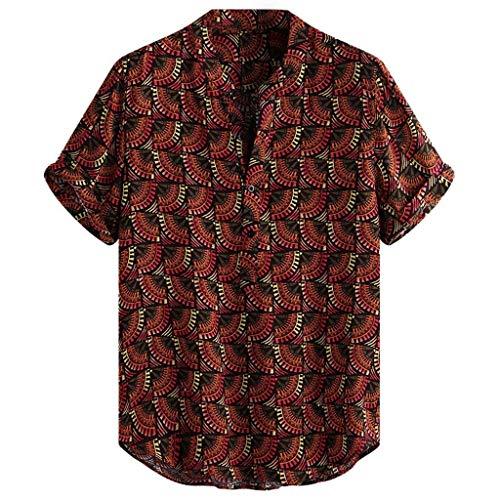 LHWY Camisa Tops T Shirt 2019 New Moda Camiseta Hombre Vintage étnico Impreso Cuello Alto Manga Corta Suelta Camisas...
