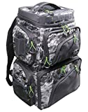 Evolution Outdoor 34002 Large Mouth Double Decker Mossy Oak Tackle Backpack – Water Camouflage, Outdoor Rucksack w/ 3 Fishing Trays, Padded Handle