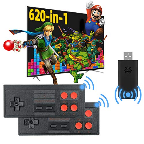 Fordim Retro Game Console, Wireless Controller, AV Output NES Game Console, Built in 620 Classic Games, Mini Portable Host Plug and Play Home Video Game Console for TV, for Kids and Adult