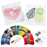 PP OPOUNT String Art Craft Kit Include 36 Colors Embroidery Threads, 200 Pieces Ball Head Pins, 2 Pieces Foam Boards and Accessories for Kids and Adults Making DIY Handicrafts