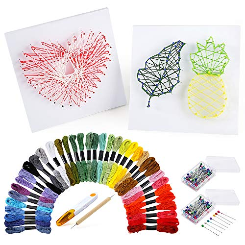 PP OPOUNT String Art Craft Kit Include 36 Colors Embroidery Threads, 200 Pieces Ball Head Pins, 2 Pieces Foam Boards and Accessories for Making DIY Handicrafts