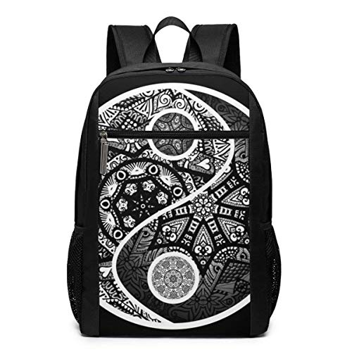 TRFashion Rucksack Yin Yang Zentangle Art Print Laptop Computer Backpack 17 Inch Large Casual Travel Daypack Laptop Bag Schoolbag Book Bag for Men Women Black