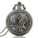 Reloj de bolsillo nuevo retro bronce medio cazador reloj de bolsillo colgante vintage collar cadena águila ala halcón steampunk Cool hombres chico regalo retro punk joinBuy.R