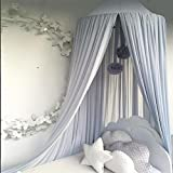 Ommda Moskitonetz Bett Kinder und Baby Betthimmel Moskitonetz Chiffon süß und romantisch für Kinderzimmer und Schlafzimmer mit Haarball Dekoration Grau Blau 240x50cm (HöhexDurchmesser)
