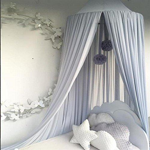 Ommda Moskitonetz Bett Kinder und Baby Betthimmel Moskitonetz Chiffon süß und romantisch für Kinderzimmer und Schlafzimmer mit Haarball Dekoration Blau 240x50cm (HöhexDurchmesser)