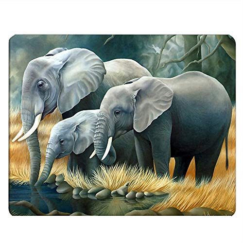 Nicokee Elephant Gaming Mousepad Wild African Elephant Family Mouse Pad Mouse Mat for Computer Desk Laptop Office 9.5 X 7.9 Inch Non-Slip Rubber