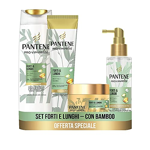 Pantene Pro-V Miracles Forti&Lunghi, Set con Shampoo Anticaduta 225 ml, Balsamo Capelli 160ml, Maschera Capelli 160ml, Siero capelli 100ml, Regalo