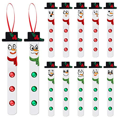 Skylety 12 Sets Christmas Snowman Ornament Craft Kit Felt Christmas Trees Hanging Crafts with Acrylic Diamonds, for Kids and Fun Home Activities