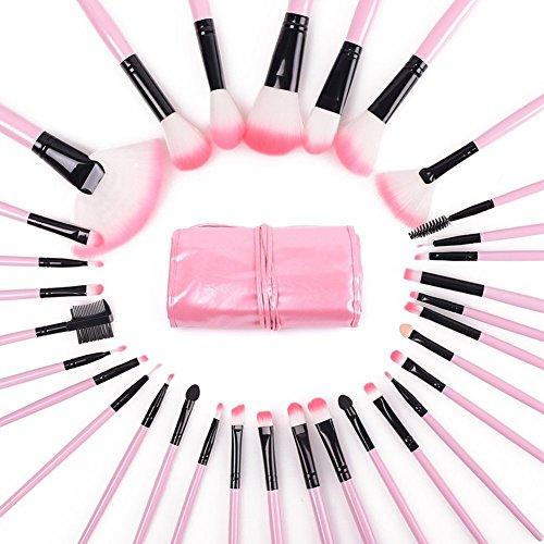 Lumanuby 32pcs Brosse à Maquillage Brush Professionnel Visage Ombre à paupières Modèle de Vache Pinceaux Poudre Cosmetics Blending Brush Tool-Rose