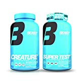 Super Test Testosterone Booster 216 ct and Creature Creatine 180 ct Muscle Stack: Lean Muscle Building Supplements for Men, Natural Test Booster and Micronized Creatine Pills for Increased Strength