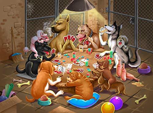 WACYDSD Puzzle 1500 Piezas Un Grupo De Perros Jugando A Las Cartas Alrededor De La Mesa Puzzle para Adultos Rompecabezas De Madera Juguete Kit De Bricolaje Único Decoración del Hogar 87x57cm