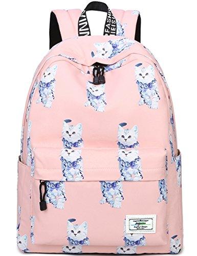 Mädchen Schulrucksack Damen Rucksack Jugendliche Große Schultasche Outdoor Freizeit Daypack mit Modernes Muster (Pink Katze)