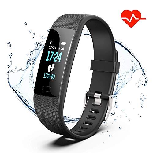 TYBLOOMY Fitness Armband mit Pulsmesser, IP68 Wasserdicht Sport Armband Aktivitäts Tracker Smartwatch Sportuhr Schrittzähler Smart Armband Schlafüberwachung Anruf SMS Für Android & iOS