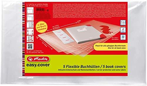 Herlitz 50014750 Buchhülle Easy Cover, 15 Stück im Polybeutel