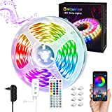 WOANWAY Striscia LED,5M Strisce LED con Controller APP Bluetooth,Sincronizza con la Musica,RGB Luce con 16 Million Colori,Con Telecomando,Adatto per TV,Camera da Letto,Feste e Decorazioni per la Casa…