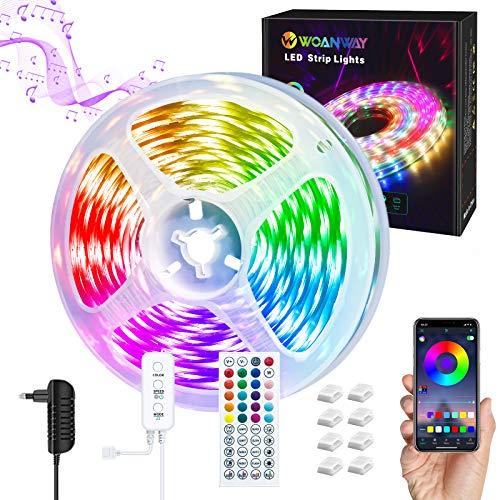 Tira LED 5M,WOANWAY RGB Tiras de Luces LED Sincronización de música Bluetooth, control de APP y Remoto de 44 Botones,5050 LED Strip Luces Led para Habitacion/Interior/Dormitorio/Hogar/TV
