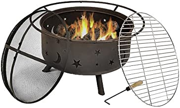 Sunnydaze Cosmic Outdoor Fire Pit - 30 Inch Round Bonfire Wood Burning Patio & Backyard Firepit for Outside with Cooking B...