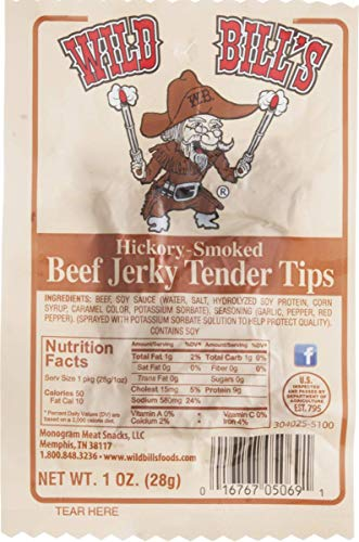 Wild Bill's Hickory Smoked Beef Jerky Tender Tips- 1 oz. Packages (8 Packages)