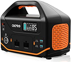Portable Power Station, OKPRO 555Wh/150,000mAh Solar Generator with 2x110V/500W (Peak 1,000W) AC Outlets, Portable Power Supply with Flashlights, Solar Mobile Lithium Battery Pack (Black)