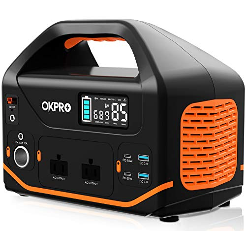 Portable Power Station, OKPRO 555Wh/150,000mAh Solar Generator with 2x110V/500W (Peak 1,000W) AC Outlets, Portable Power Supply with Flashlights, Solar Mobile Lithium Battery Pack for Camping Travel (Black)
