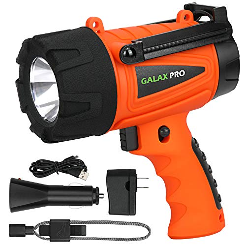 GALAX PRO 5W Waterproof Rechargeable Spotlight (Flashlight) with 280 Lumen LED and 3 Light Modes, Wall and Car Charger Attachments Included, Lightweight and Compact Design - Orange