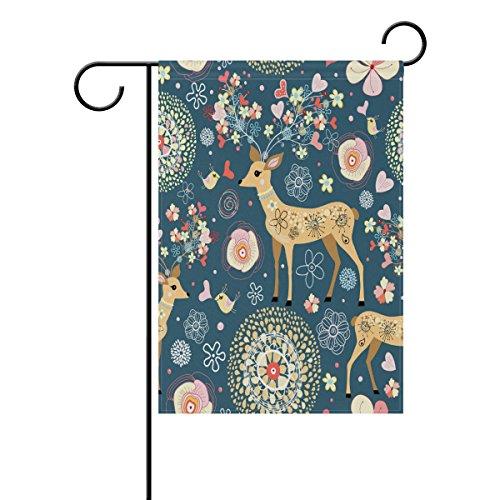 ShineSnow Dessin animé Cerf Fleur Floral Garden Drapeau Double Face Maison Banner 30,5 x 45,7 cm, Animal Bird Cœur Fête Yard Home Décor extérieur Drapeaux 28x40(in) Multicolore
