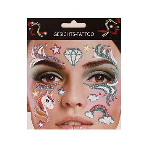 Lively Moments Gesichtsaufkleber / Schminke / Klebetattoos / Gesichts-Tattoo Einhorn & Regenbogen