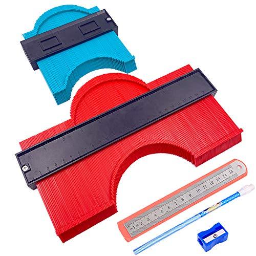 Erayco 2パック 型取りゲージ コンターゲージ 測定ゲージ 測定工具 不規則 曲線定規 目盛付き 高精度 (250cm & 120cm)