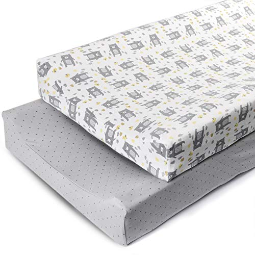 Boritar Changing Pad Covers Grey for Boys Super Soft Stretchy Jersey Knit and Semi-Waterproof 2 Pack Set, Lovely Bears and Dots Printed 16 × 32 Inch