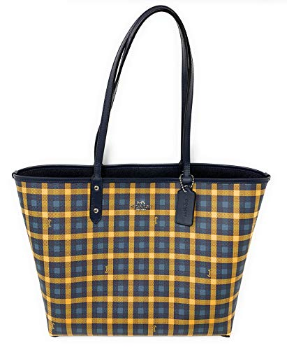 Coach Gingham Printed Coated Canvas and Smooth Leather Reversible City Tote Bag, Navy, Yellow, Multi, Midnight