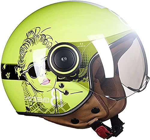 Casco Moto Retro Cara Abierta Medio Casco Motocicleta para Hombres Y Amp;Mujeres Aprobadas por Dot/ECE para Adultos Unisex para Bicicleta Scooter ATV UTV Chopper Skate(Color:8;Size:L)