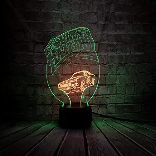 KINGBENG Voiture légère Duke Hazzard veilleuse multicolore Rbb éclairage Luminaria Table enfant cadeau de Noël famille anniversaire 16 couleurs Veilleuse Illusion Nuit Lumière Bureau Table Lampe 16 Co