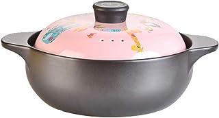 l.e.i. Double Handle Lid Pure Ceramic Tureen Soup with Open fire Ceramic Round Black Dish Casserole/Clay Pot/Earthen Pot/C...
