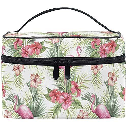 Tropische Palm Bladeren Make-up Bag Roze Flamingos Toiletborstel Trein Zip Draagbare Opbergtas Tassen Doos