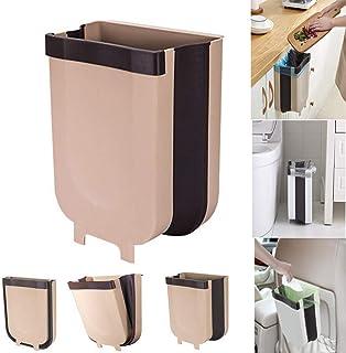 Easyinsmile Folding Waste Bin Collapsible Waste Basket Hanging Trash Can for Kitchen Cabinet Door and Car Brown