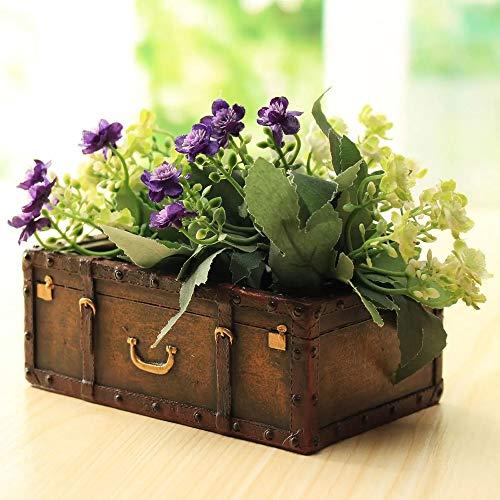 Macetas Jardín Jardín al Aire Libre Resina Maleta Tiesto Mini suculentas Planter DIY Flores Verdes Plantas Decoración (Color : Brown, Size : One Size)